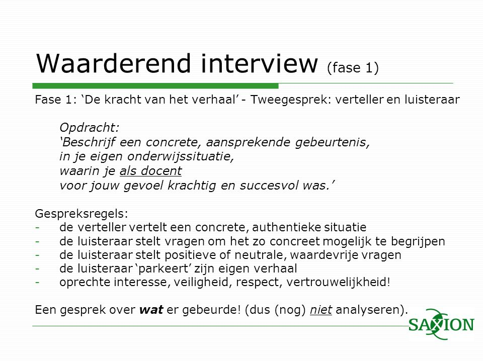 Waarderend interview (fase 1)