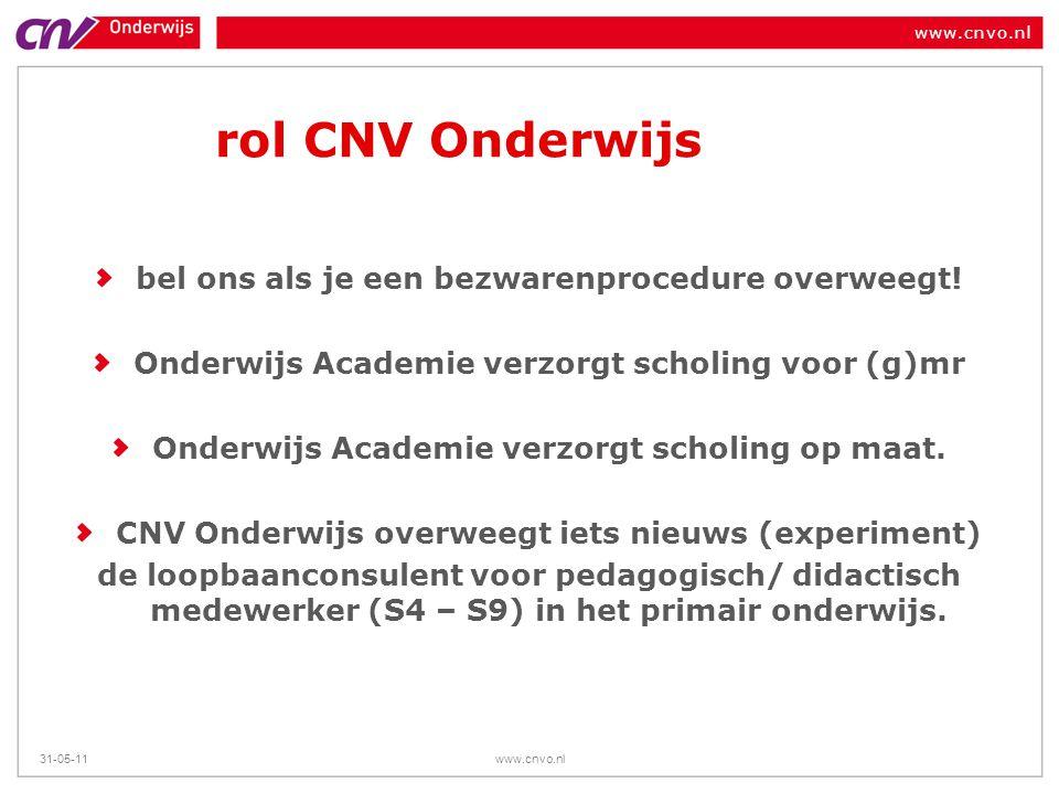 rol CNV Onderwijs bel ons als je een bezwarenprocedure overweegt!
