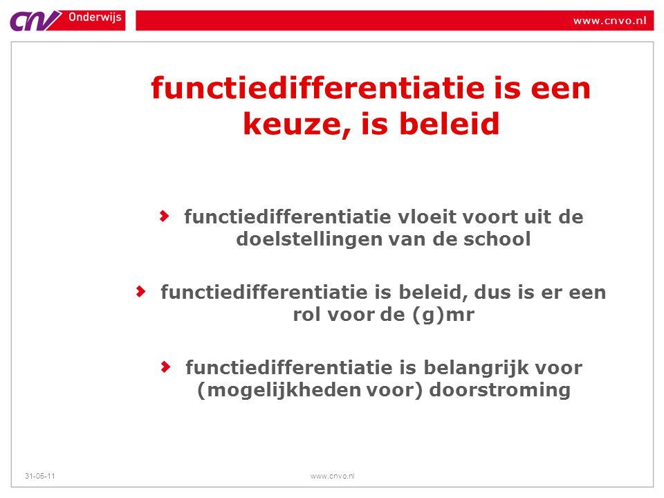 functiedifferentiatie is een keuze, is beleid
