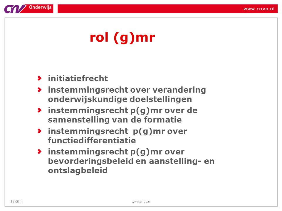 rol (g)mr initiatiefrecht