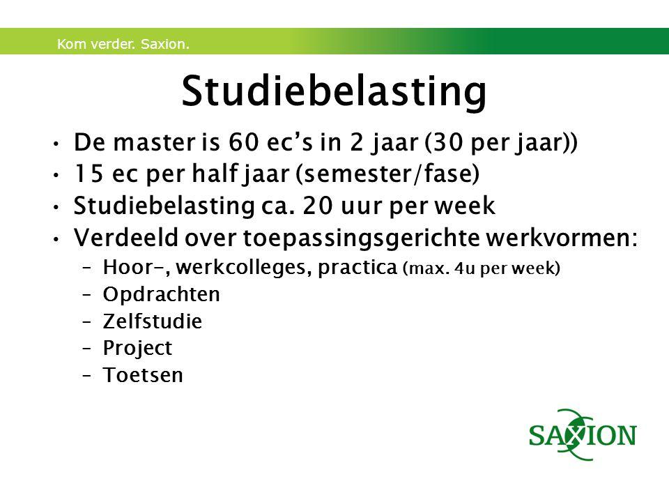 Studiebelasting De master is 60 ec's in 2 jaar (30 per jaar))