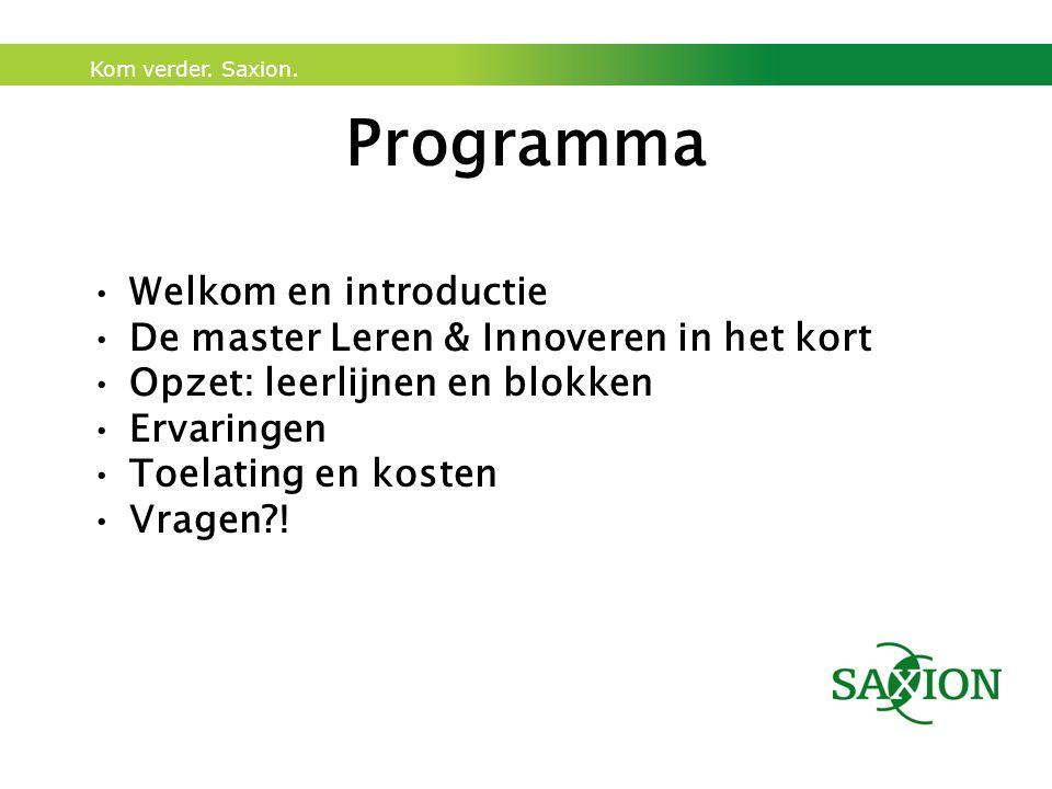 Programma Welkom en introductie