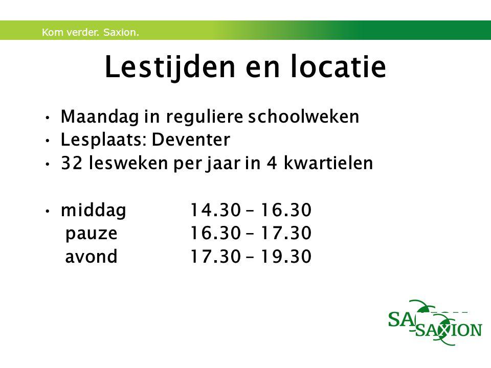 Lestijden en locatie Maandag in reguliere schoolweken