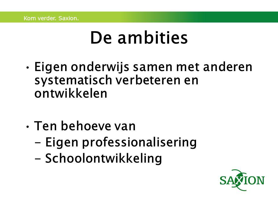 De ambities Eigen onderwijs samen met anderen systematisch verbeteren en ontwikkelen. Ten behoeve van.