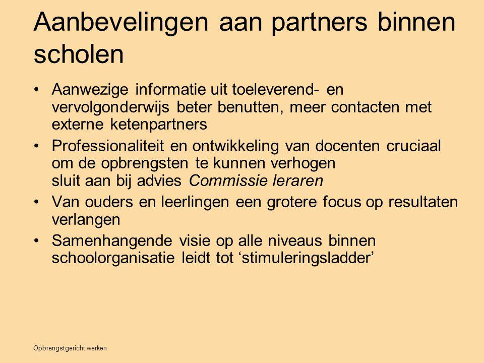Aanbevelingen aan partners binnen scholen