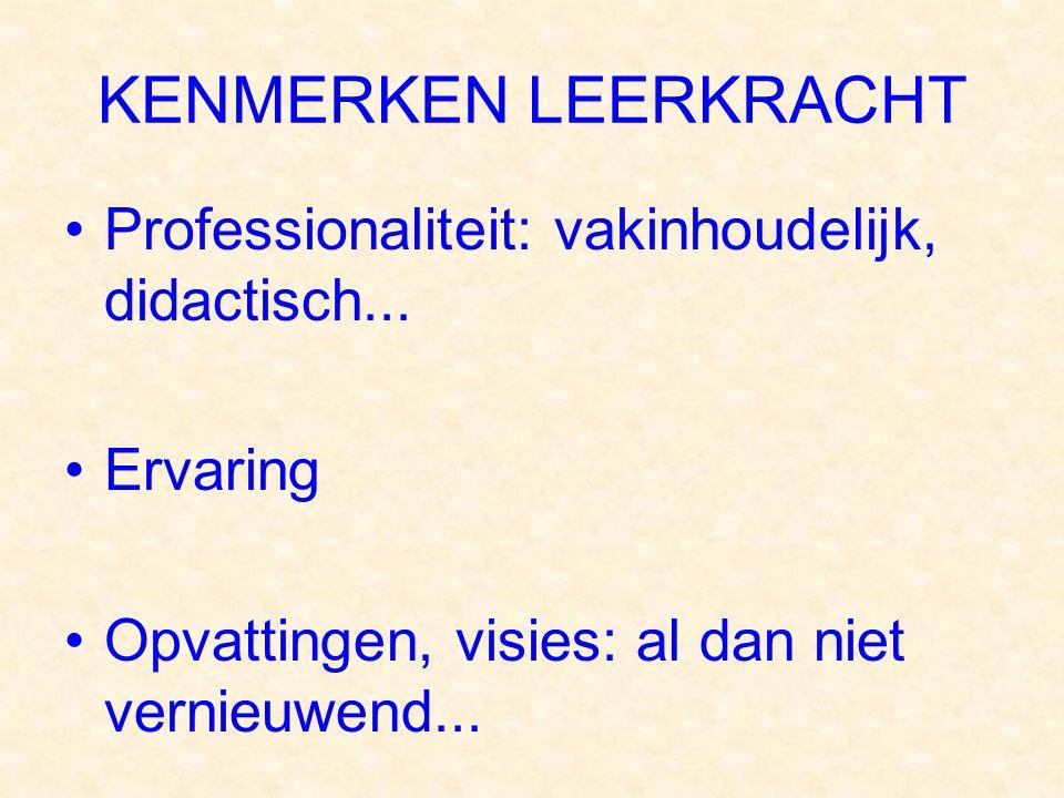 KENMERKEN LEERKRACHT Professionaliteit: vakinhoudelijk, didactisch...