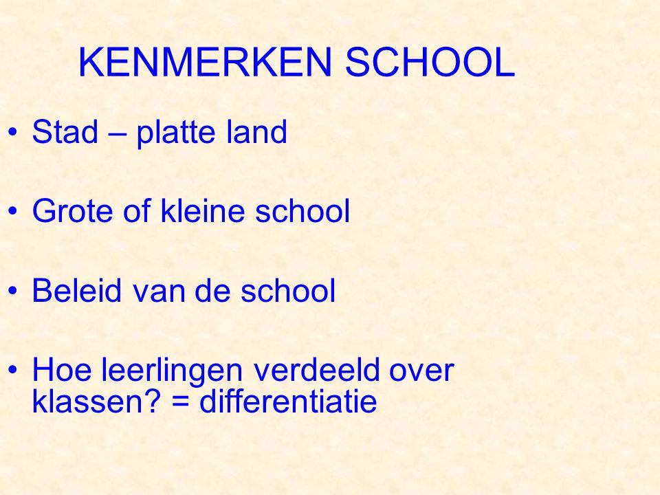 KENMERKEN SCHOOL Stad – platte land Grote of kleine school