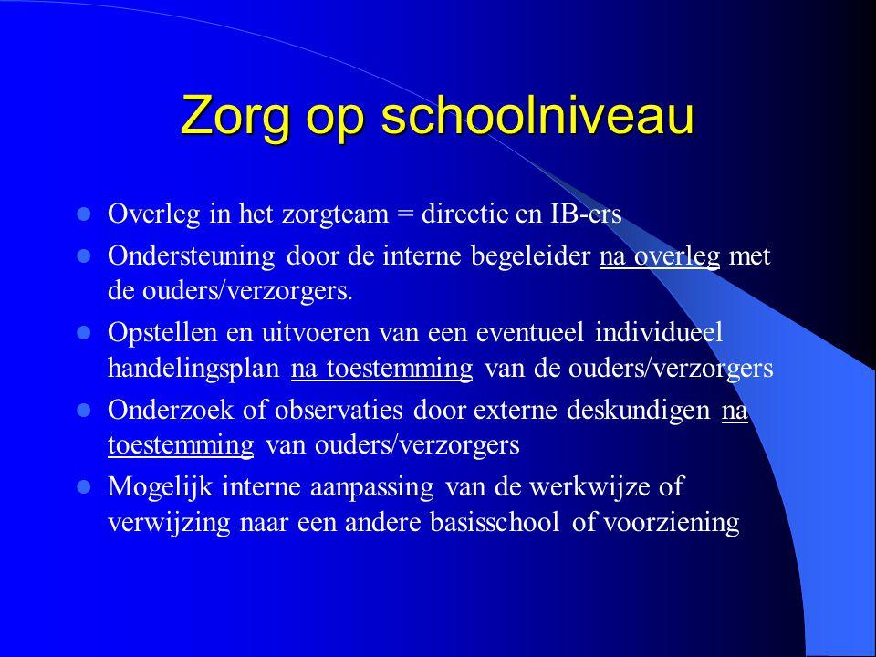 Zorg op schoolniveau Overleg in het zorgteam = directie en IB-ers