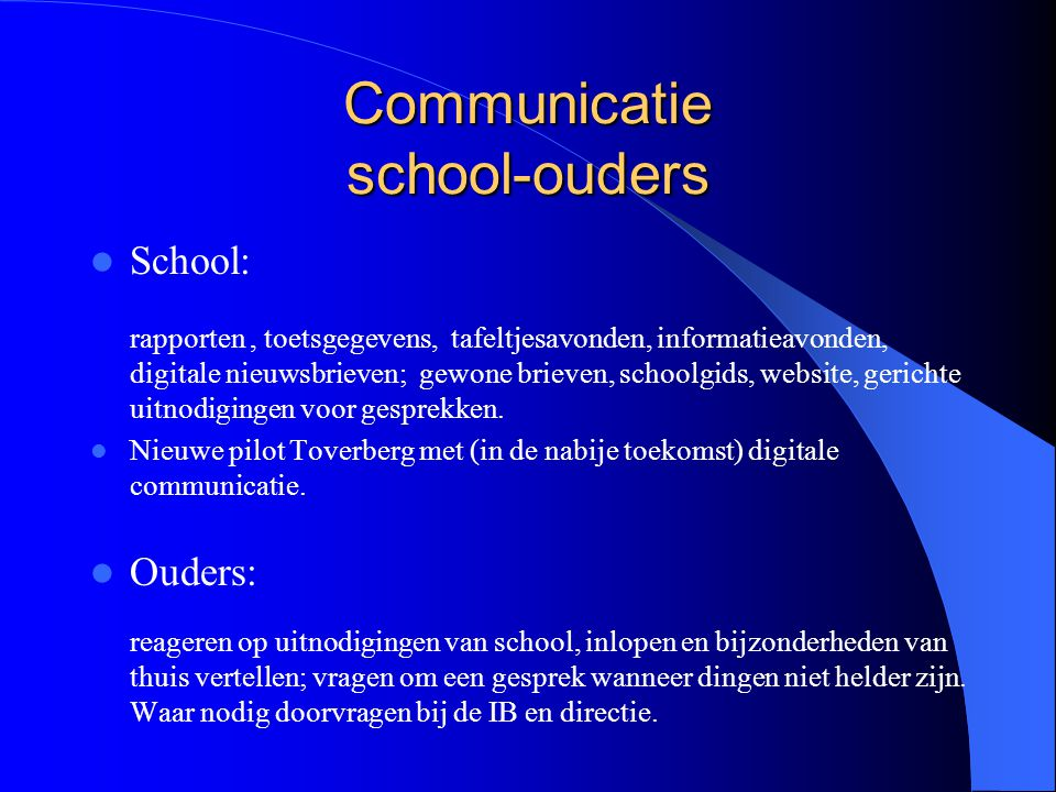 Communicatie school-ouders