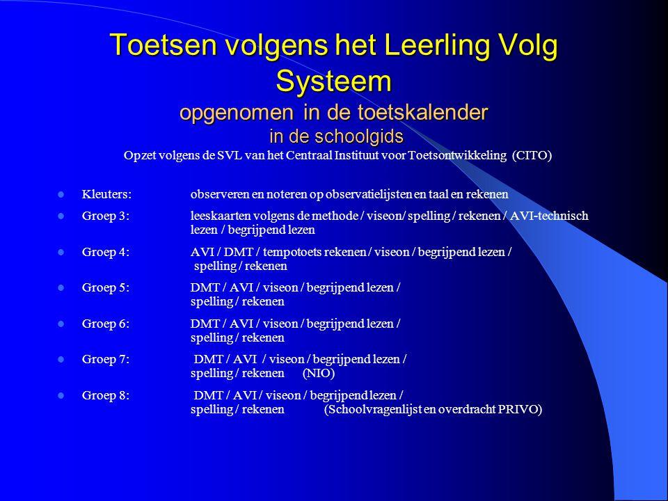Toetsen volgens het Leerling Volg Systeem opgenomen in de toetskalender in de schoolgids