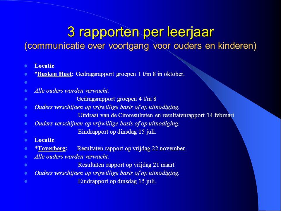 3 rapporten per leerjaar (communicatie over voortgang voor ouders en kinderen)