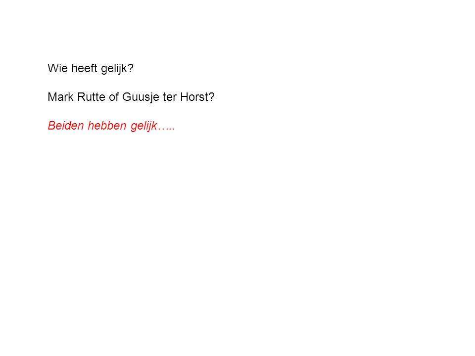 Wie heeft gelijk Mark Rutte of Guusje ter Horst Beiden hebben gelijk…..
