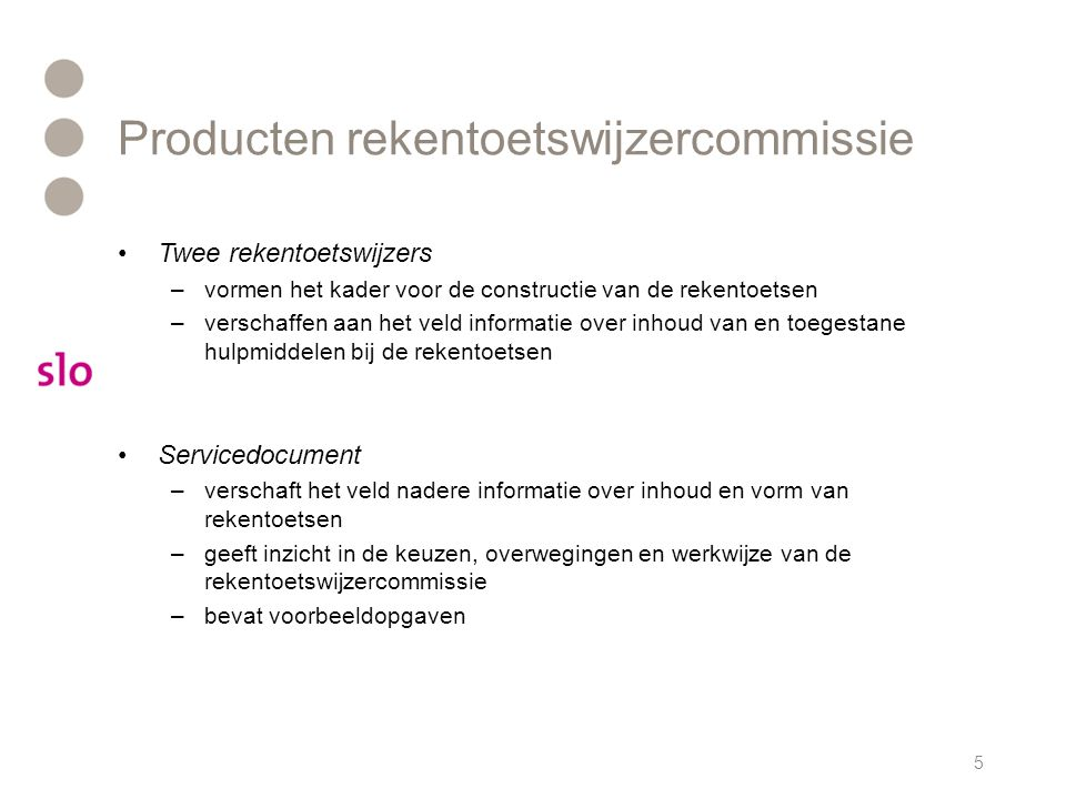 Producten rekentoetswijzercommissie