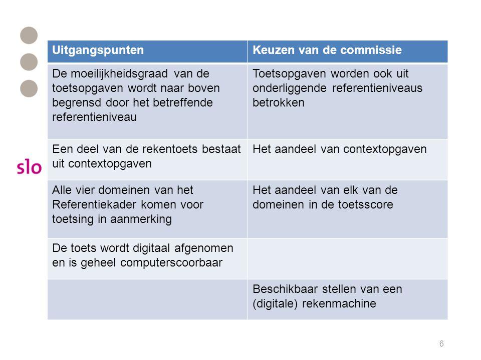 Uitgangspunten Keuzen van de commissie. De moeilijkheidsgraad van de toetsopgaven wordt naar boven begrensd door het betreffende referentieniveau.