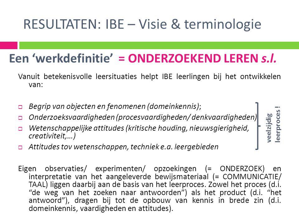 RESULTATEN: IBE – Visie & terminologie