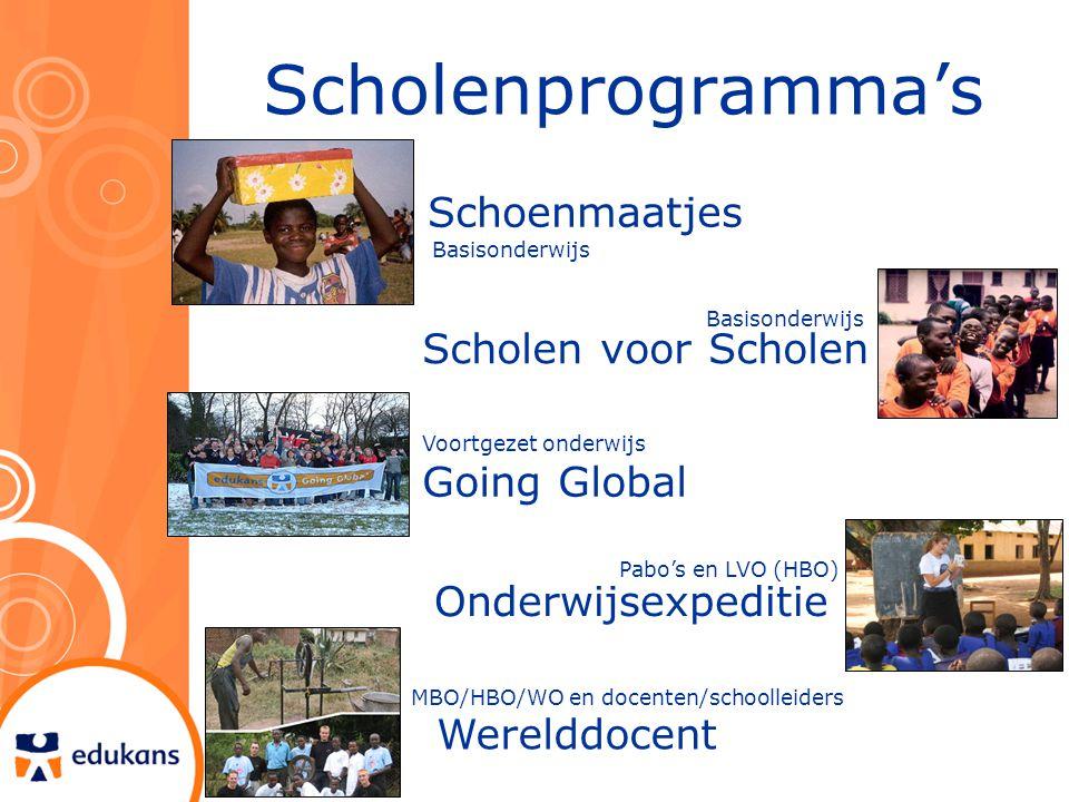 Scholenprogramma's Schoenmaatjes Scholen voor Scholen Going Global