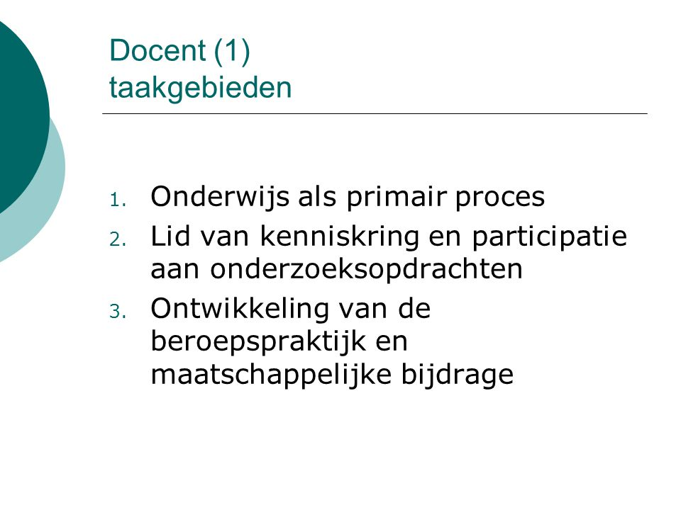 Docent (1) taakgebieden