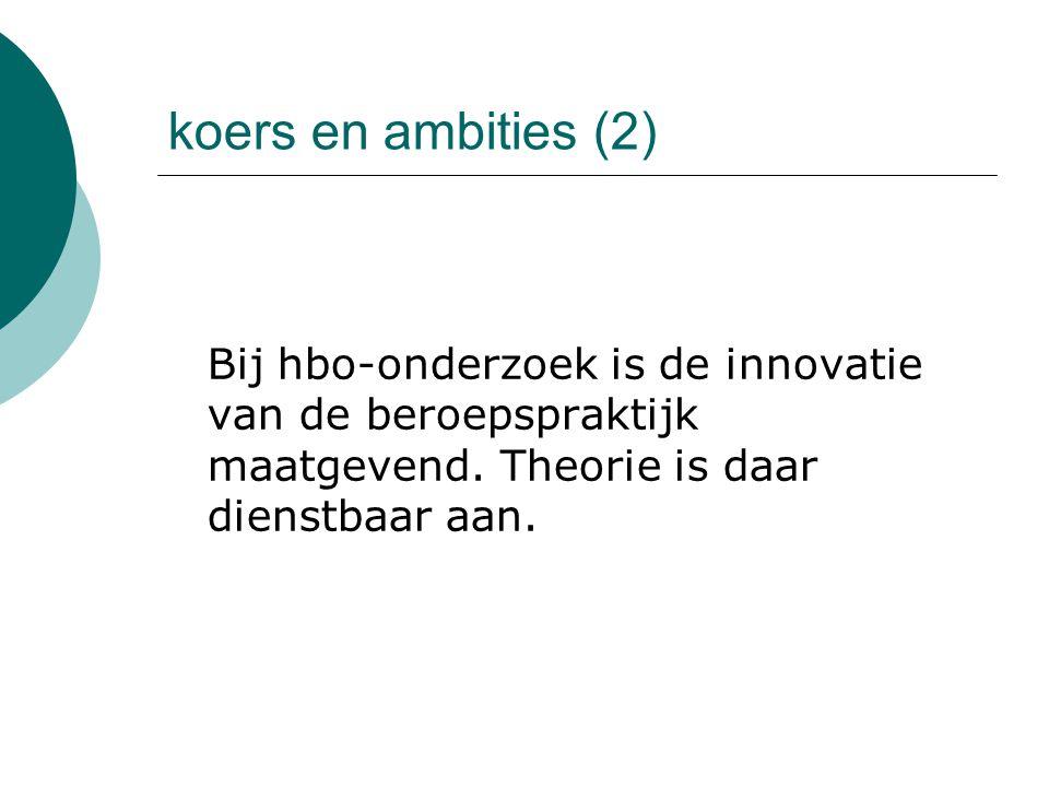 koers en ambities (2) Bij hbo-onderzoek is de innovatie van de beroepspraktijk maatgevend.