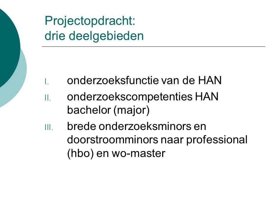 Projectopdracht: drie deelgebieden