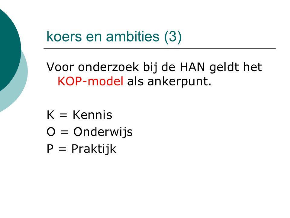 koers en ambities (3) Voor onderzoek bij de HAN geldt het KOP-model als ankerpunt. K = Kennis. O = Onderwijs.