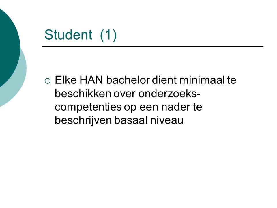 Student (1) Elke HAN bachelor dient minimaal te beschikken over onderzoeks-competenties op een nader te beschrijven basaal niveau.