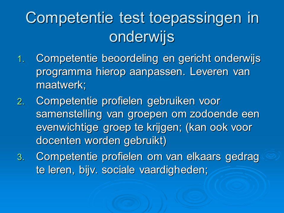 Competentie test toepassingen in onderwijs