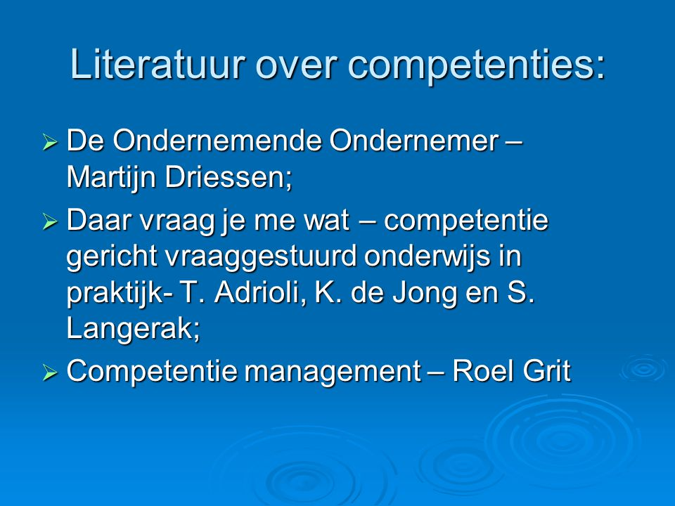 Literatuur over competenties:
