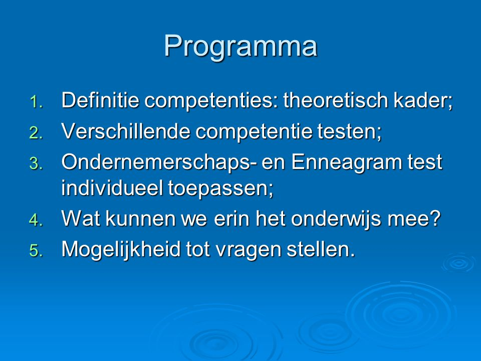 Programma Definitie competenties: theoretisch kader;