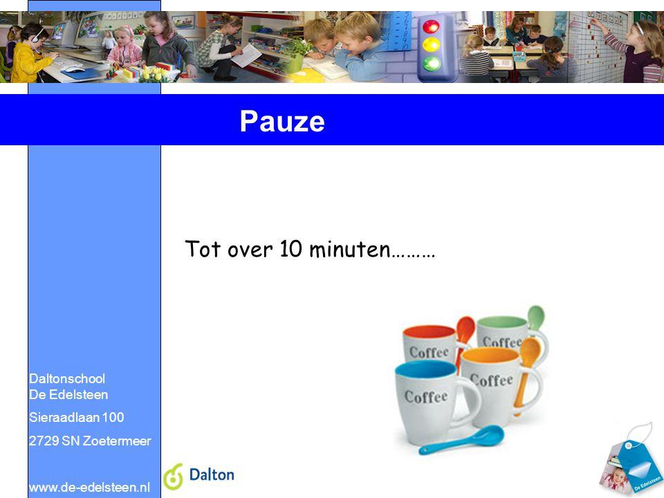 Pauze Tot over 10 minuten……… Daltonschool De Edelsteen Sieraadlaan 100