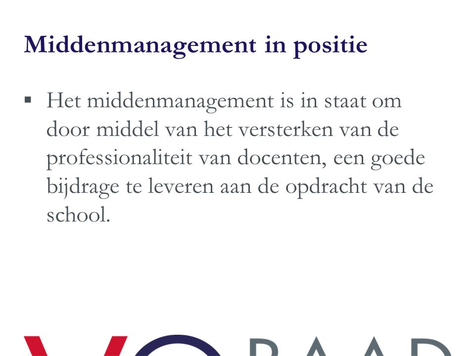 Middenmanagement in positie