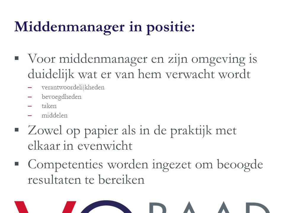 Middenmanager in positie: