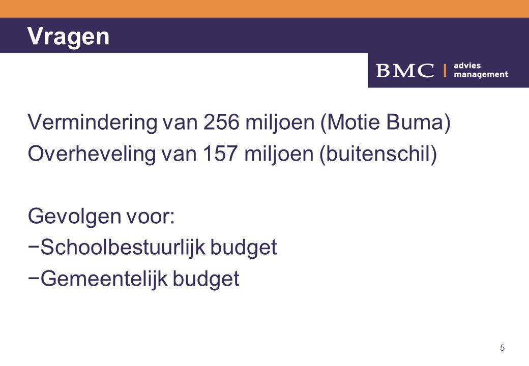 Vragen Vermindering van 256 miljoen (Motie Buma)