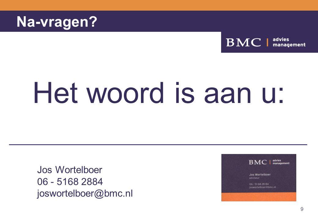 Het woord is aan u: Na-vragen Jos Wortelboer 06 - 5168 2884