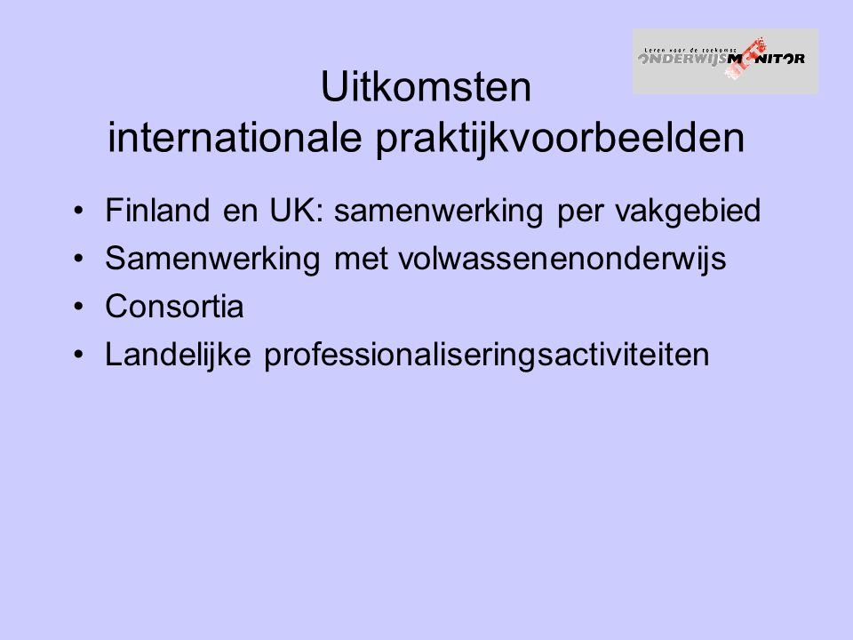 Uitkomsten internationale praktijkvoorbeelden
