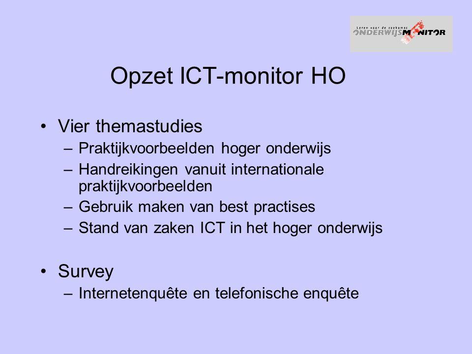 Opzet ICT-monitor HO Vier themastudies Survey