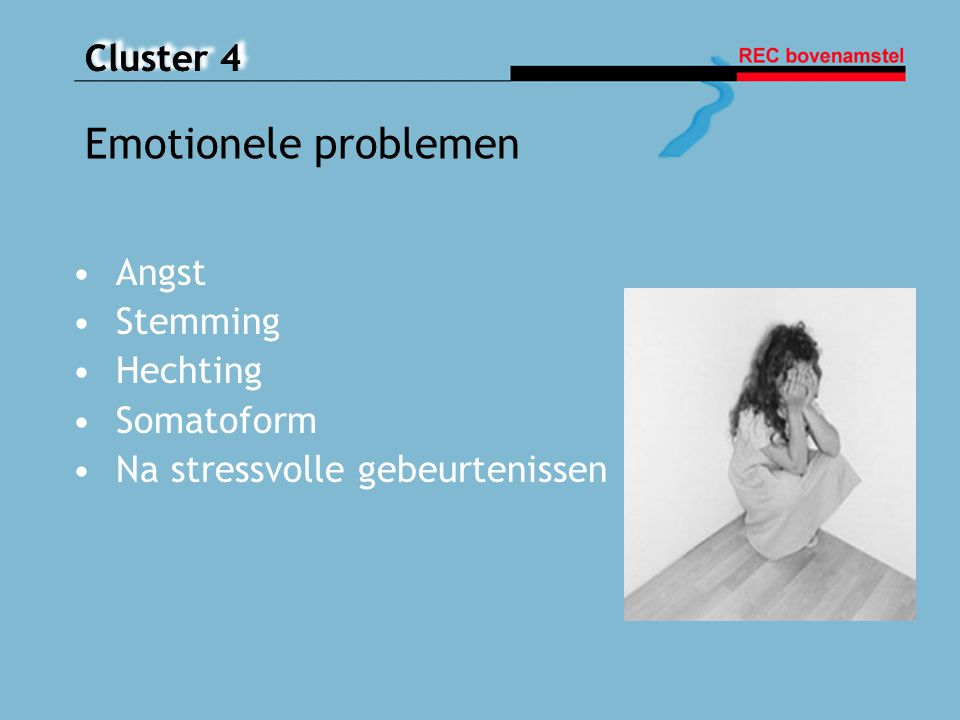 Emotionele problemen Angst Stemming Hechting Somatoform