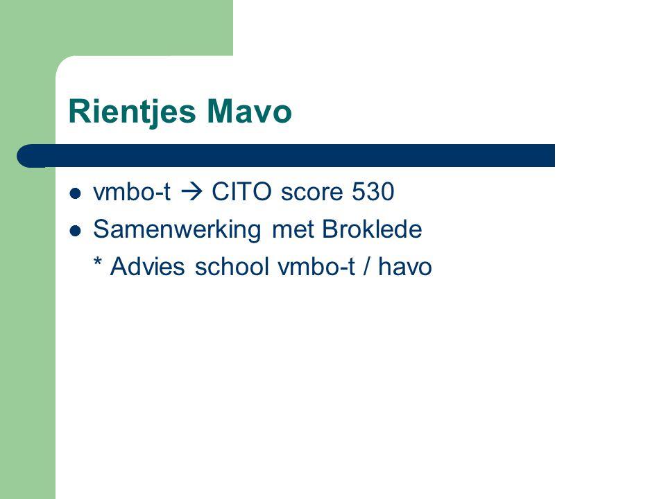 Rientjes Mavo vmbo-t  CITO score 530 Samenwerking met Broklede