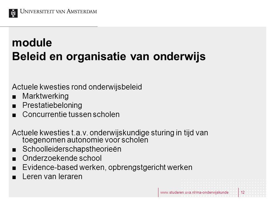 Beleid en organisatie van onderwijs