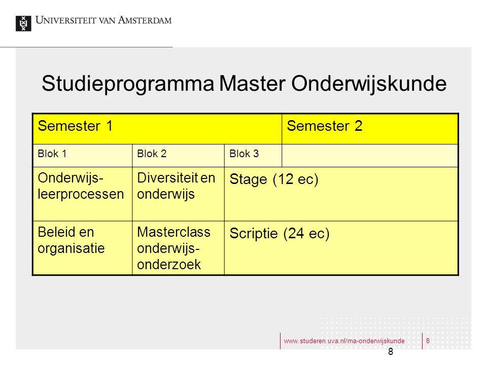Studieprogramma Master Onderwijskunde