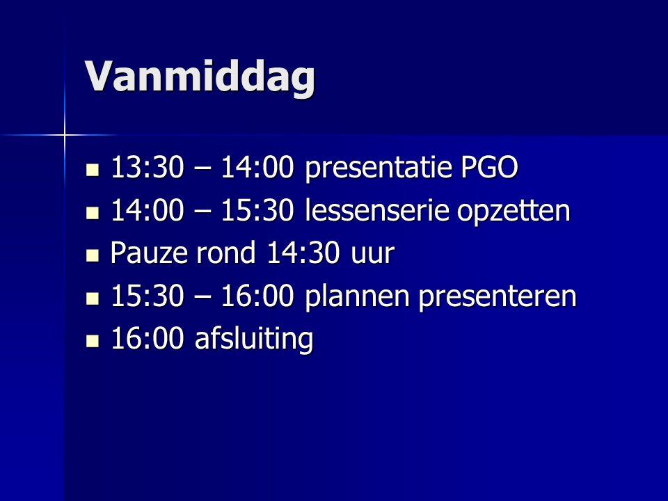 Vanmiddag 13:30 – 14:00 presentatie PGO