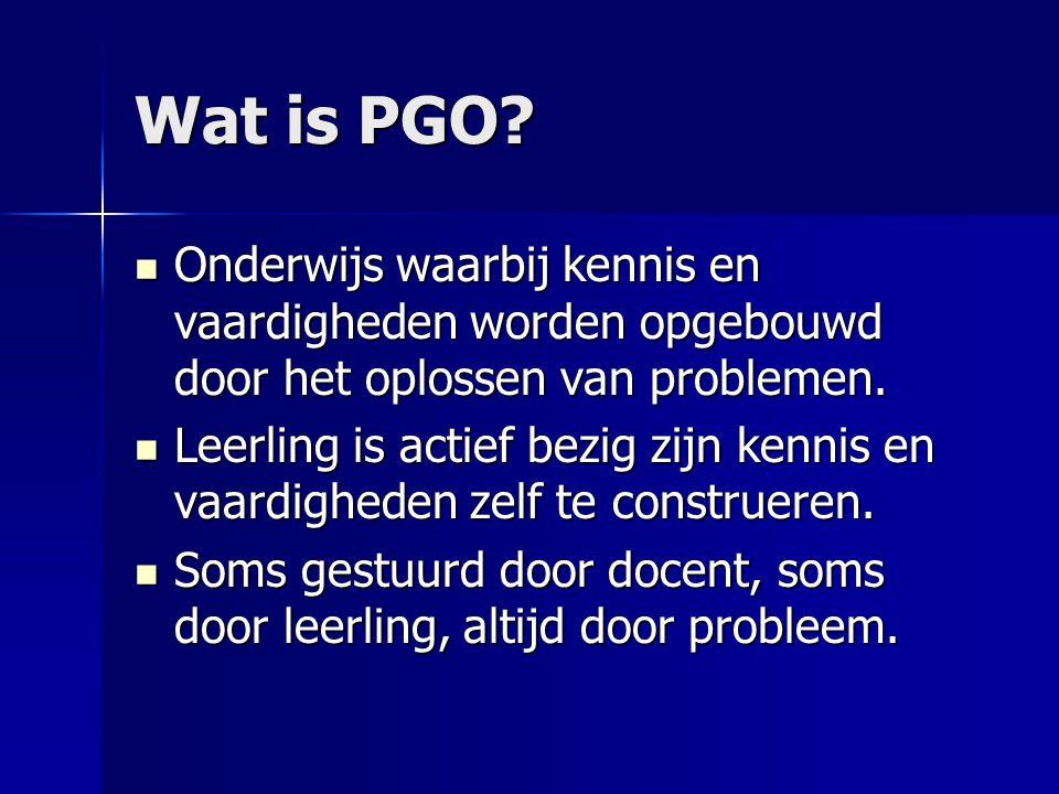 Wat is PGO Onderwijs waarbij kennis en vaardigheden worden opgebouwd door het oplossen van problemen.