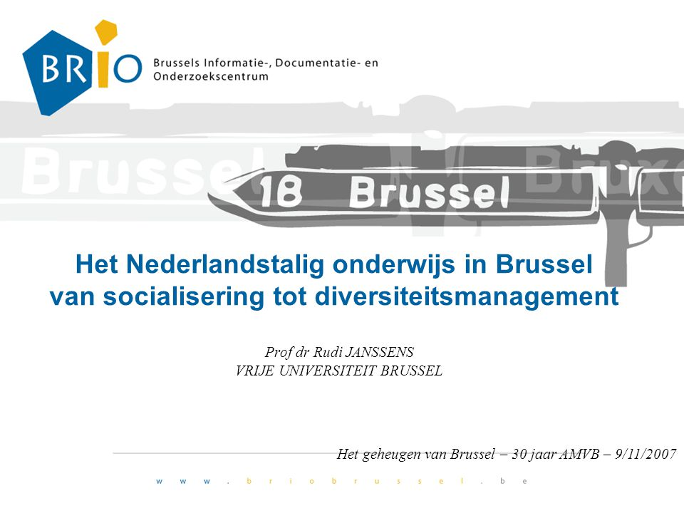 Prof dr Rudi JANSSENS VRIJE UNIVERSITEIT BRUSSEL