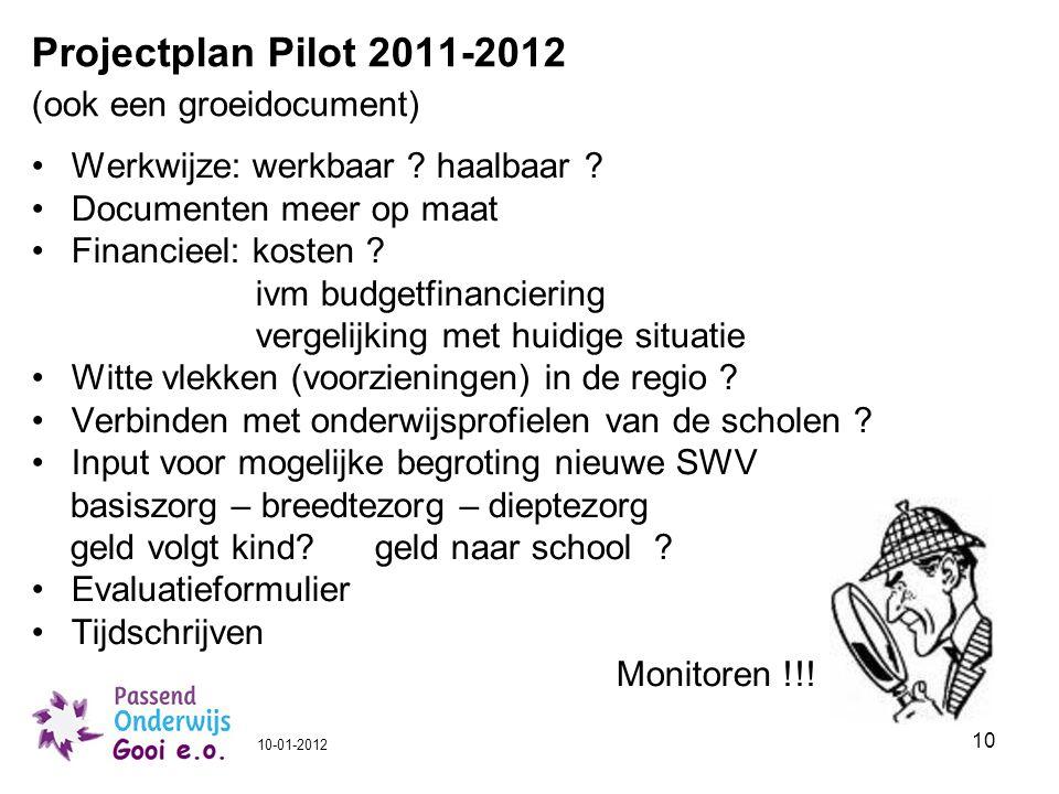 Projectplan Pilot 2011-2012 (ook een groeidocument)