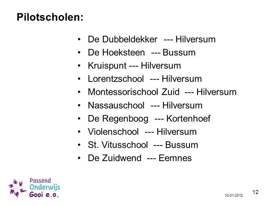 Pilotscholen: De Dubbeldekker --- Hilversum De Hoeksteen --- Bussum
