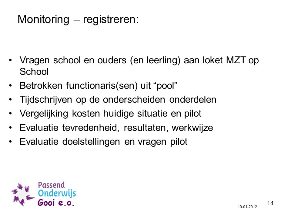 Monitoring – registreren: