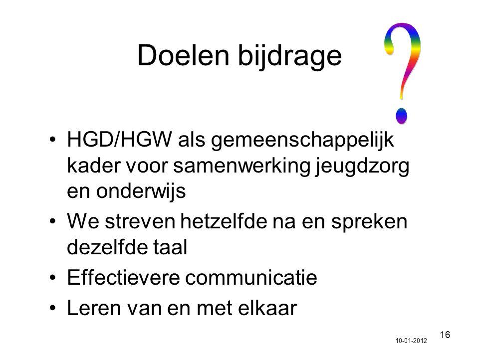 Doelen bijdrage HGD/HGW als gemeenschappelijk kader voor samenwerking jeugdzorg en onderwijs. We streven hetzelfde na en spreken dezelfde taal.