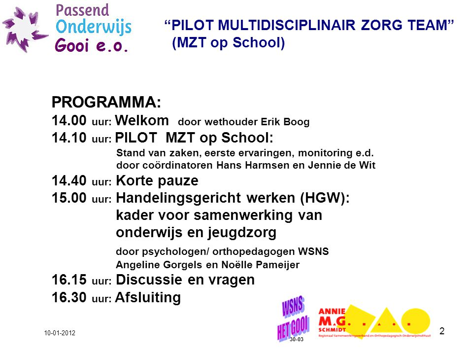 PROGRAMMA: PILOT MULTIDISCIPLINAIR ZORG TEAM (MZT op School)
