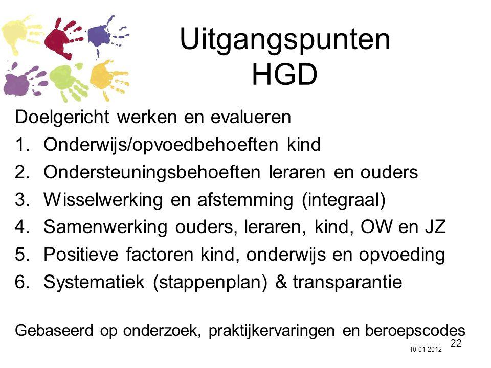 Uitgangspunten HGD Doelgericht werken en evalueren