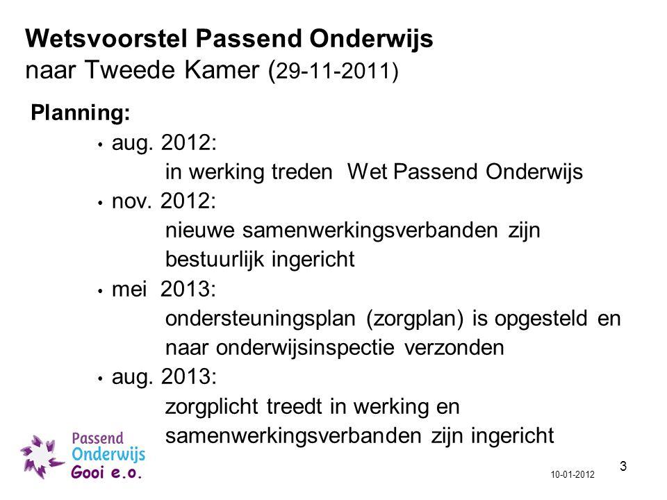 Wetsvoorstel Passend Onderwijs naar Tweede Kamer (29-11-2011)