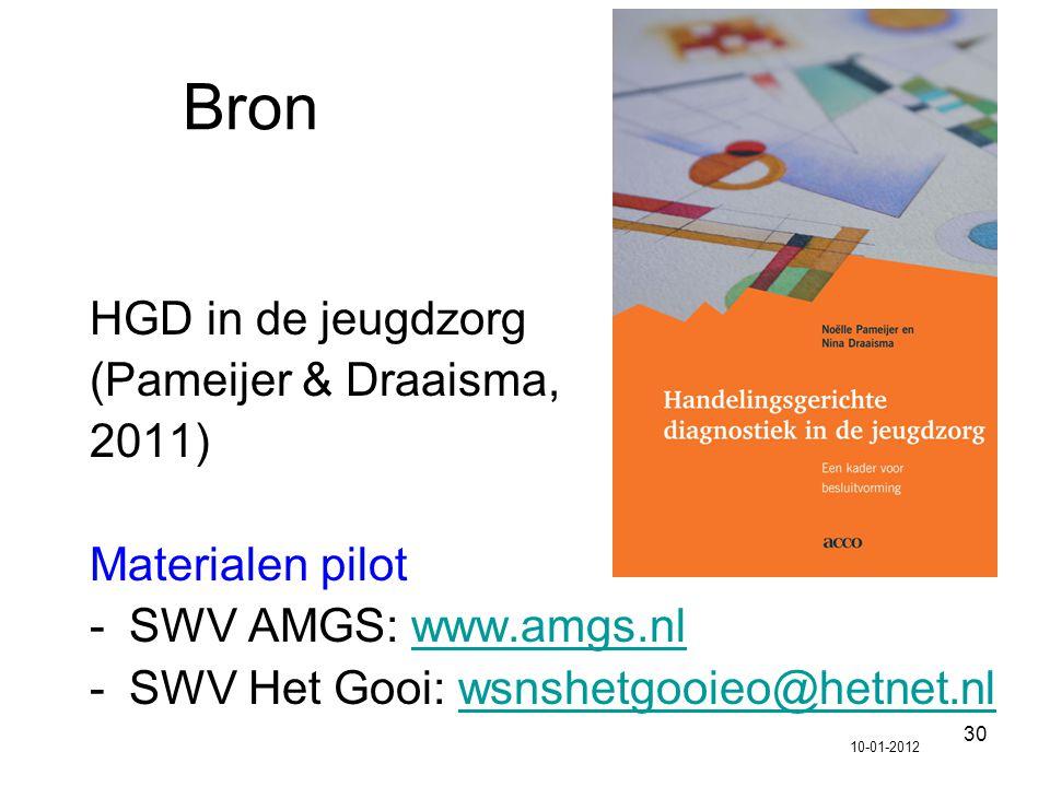 Bron HGD in de jeugdzorg (Pameijer & Draaisma, 2011) Materialen pilot